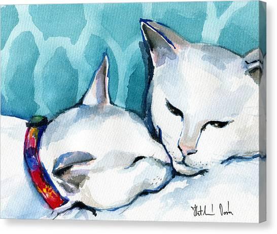 White Cat Affection Canvas Print