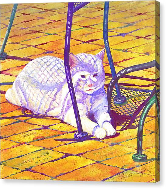 White Cat On Patio Canvas Print
