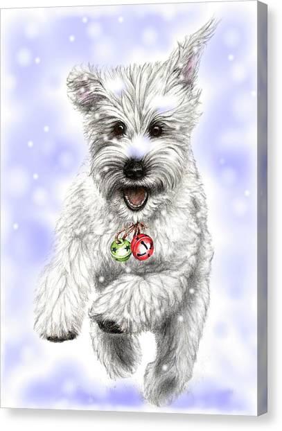 White Christmas Doggy Canvas Print