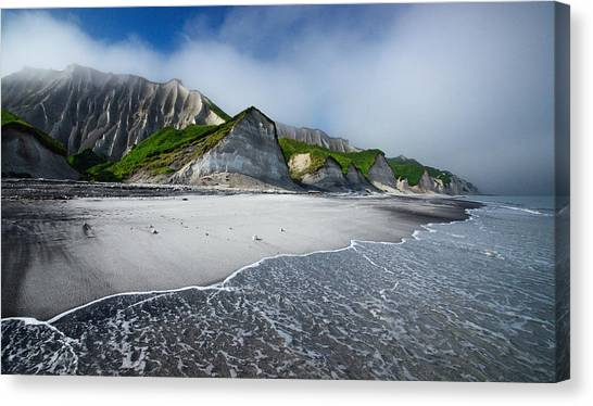 Lava Canvas Print - White Cliffs Of Iturup Island by Alexey Kharitonov