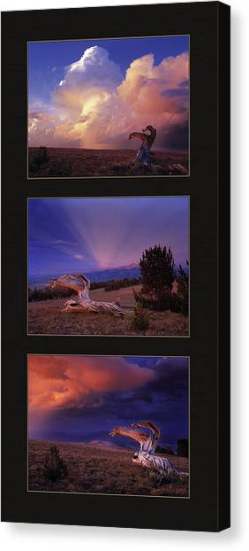 Mountain Sunsets Canvas Print - White Clouds Triptych by Leland D Howard