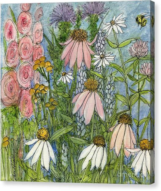 White Coneflowers In Garden Canvas Print