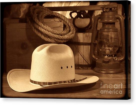 White Cowboy Hat On Workbench Canvas Print