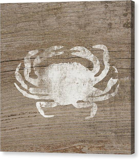 Crabs Canvas Print - White Crab On Wood- Art By Linda Woods by Linda Woods