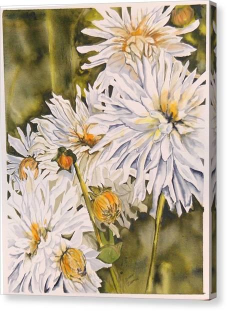 White Dahlias Canvas Print