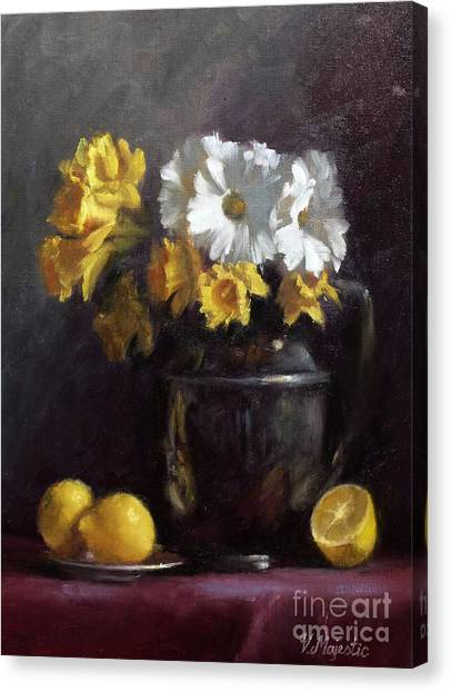 White Daisies And Daffodils  Canvas Print