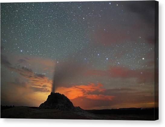 Canvas Print featuring the photograph White Dome Geyser At Night by Jean Clark