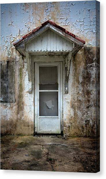 Canvas Print - White Door And Torn Screen by Murray Bloom