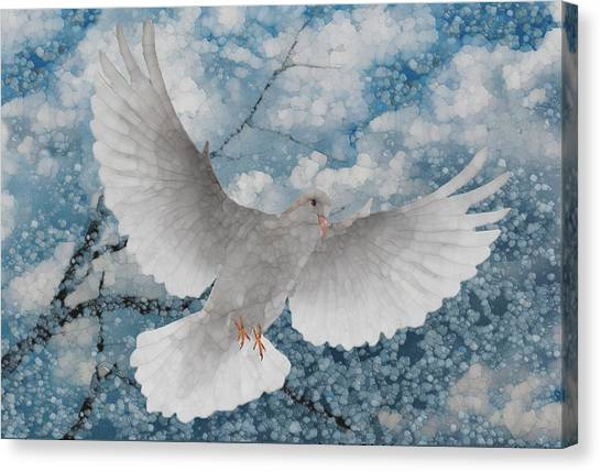 Improve Canvas Print - White Dove-flight Series by Jack Zulli