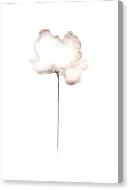 Watercolor Canvas Print - White Flower Minimalist Painting by Joanna Szmerdt