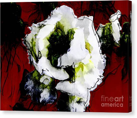 White Flower On Red Background Canvas Print