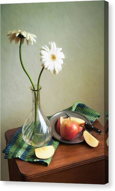 White Flowers And Red Apples Canvas Print