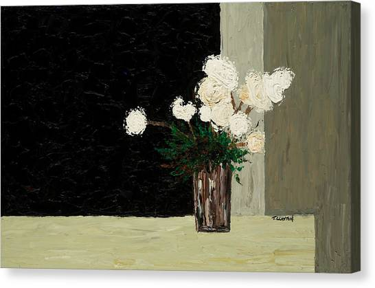 White Flowers On Black And Neutral Canvas Print by Timothy Clayton