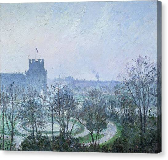 Jardin Canvas Print - White Frost Jardin Des Tuileries by Camille Pissarro