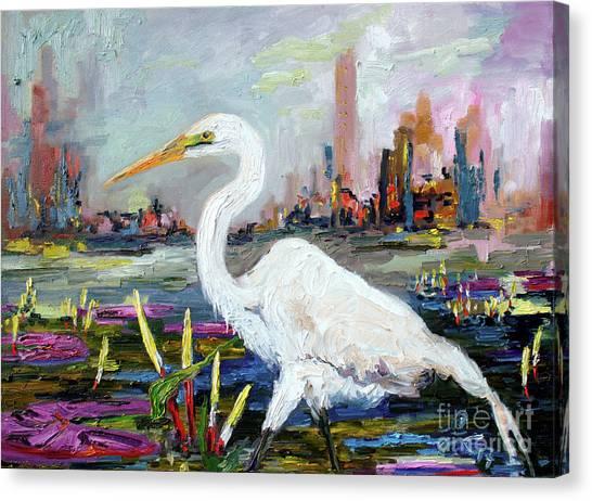 White Heron And City Skyline Canvas Print