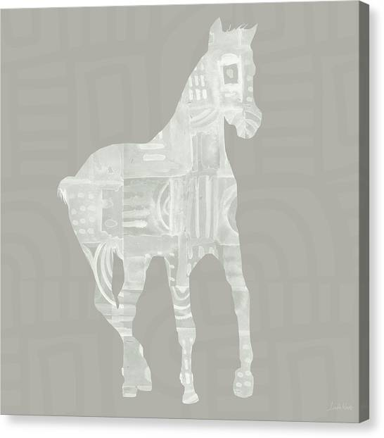 Equine Canvas Print - White Horse 3- Art By Linda Woods by Linda Woods