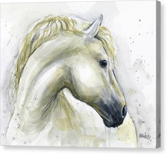 Lovers Drawing Canvas Print - White Horse Watercolor by Olga Shvartsur