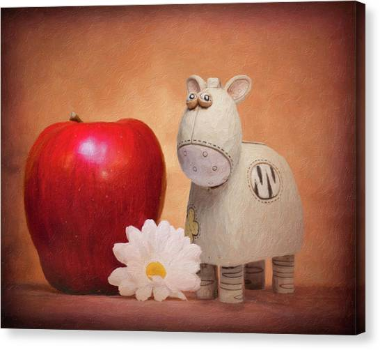 Daisy Canvas Print - White Horse With Apple by Tom Mc Nemar