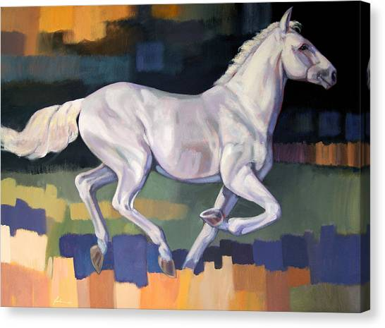 Horses Canvas Print - White Horse2 by Farhan Abouassali