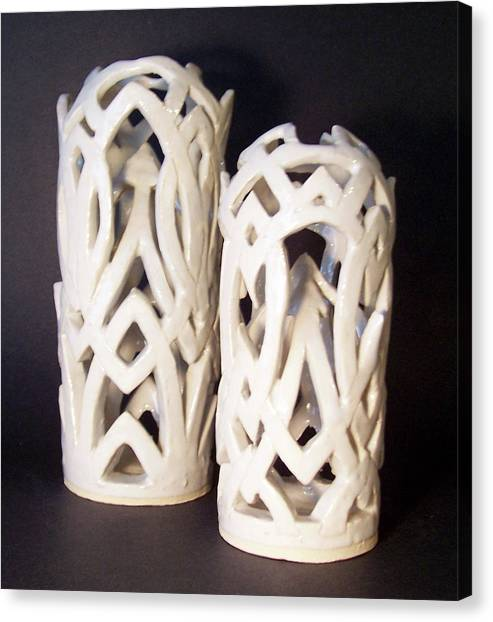 White Interlaced Sculptures Canvas Print