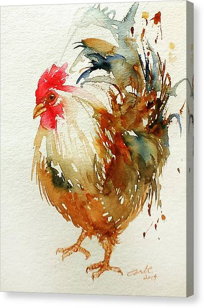 White Knight Rooster Canvas Print