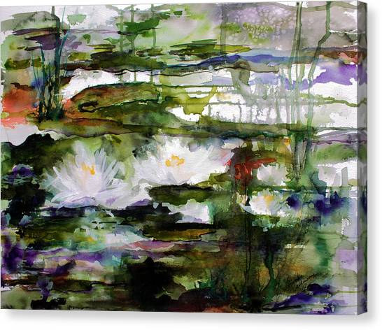 White Lilies On Black Water Wetland Canvas Print