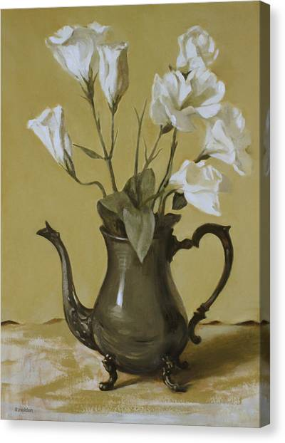 White Lisianthus In Silver Coffeepot Canvas Print