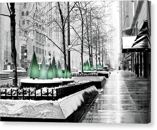 White Mag Mile Christmas Canvas Print