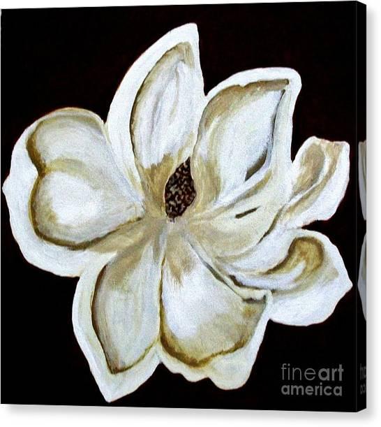 White Magnolia On Black Canvas Print by Marsha Heiken