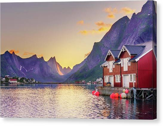 White Night In Reine Canvas Print