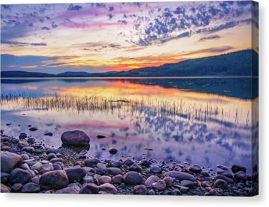 White Night Sunset On A Swedish Lake Canvas Print