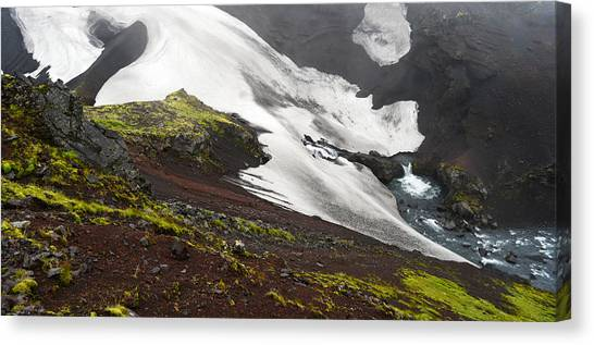 White On Black In The Icelandic Highlands Canvas Print