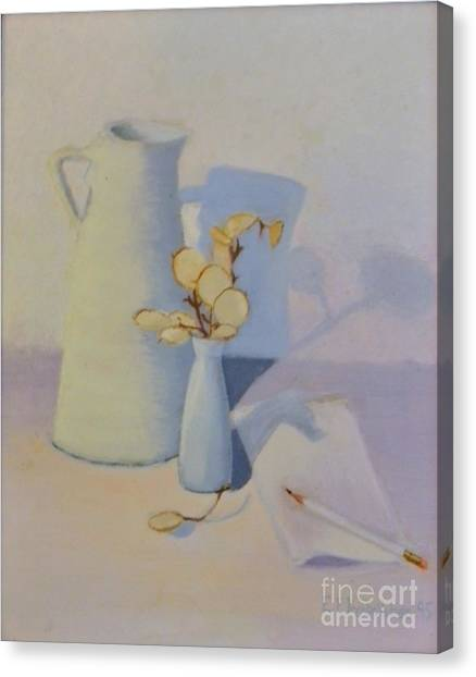 White On White Still Life Canvas Print by Emily Michaud