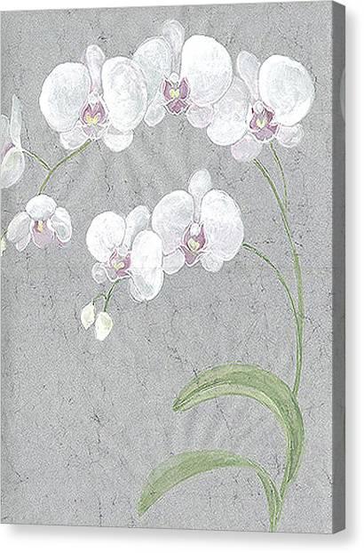 White Orchids On Sprigs  Canvas Print by Marja Koskinen-Talavera