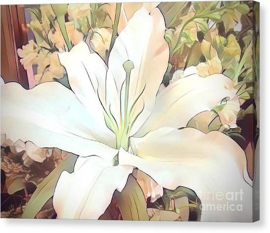 White Painted Lily Canvas Print