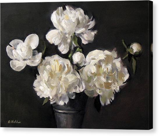 White Peonies Alone Canvas Print