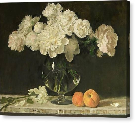 White Peonies In Giant Snifter With Peaches Canvas Print