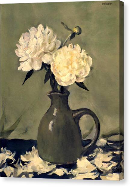 White Peonies In Small Green Pitcher Canvas Print