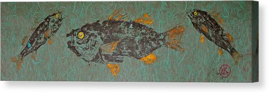 White  Perch With Yellow Perch Canvas Print