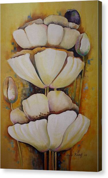 White Poppys Canvas Print by Ansie Boshoff
