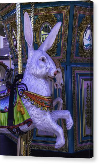 Dreamy Horse Canvas Print - White Rabbit Carrousel Ride by Garry Gay