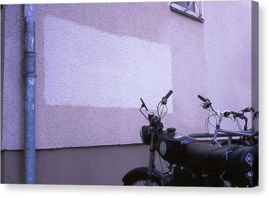 White Rectangle And Vintage Bikes Canvas Print