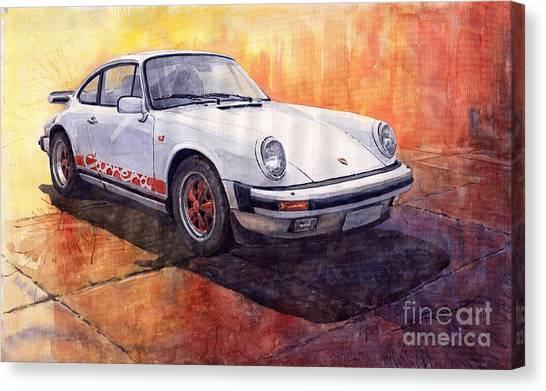 Automotive Art Canvas Print - White Red Legend Porsche 911 Carrera by Yuriy Shevchuk