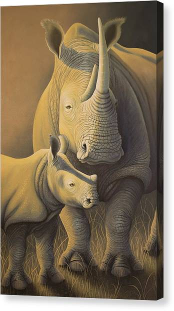 White Rhino Fading Into Extinction Canvas Print