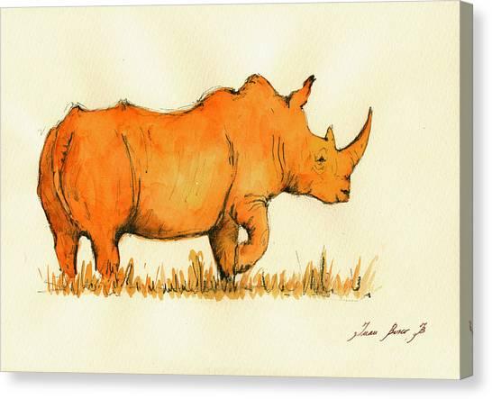 Rhinos Canvas Print - White Rhino Orange by Juan  Bosco
