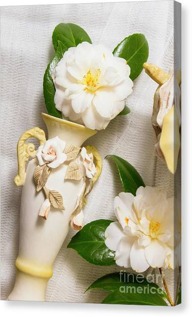 Rhododendron Canvas Print - White Rhododendron Funeral Flowers by Jorgo Photography - Wall Art Gallery