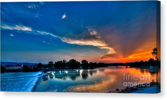 White River Sunset Canvas Print by Clayton Cavaness