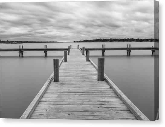 White Rock Lake Pier Black And White Canvas Print