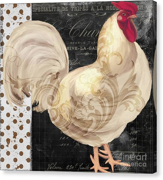 Roosters Canvas Print - White Rooster Cafe I by Mindy Sommers
