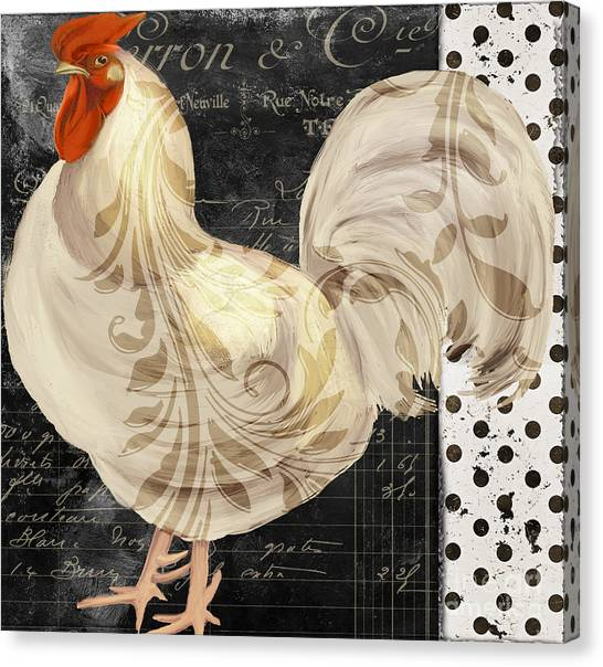 Roosters Canvas Print - White Rooster Cafe II by Mindy Sommers